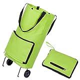 Einkaufstrolley Einkaufswagen mit Faltbarer Abnehmbarer Einkaufstüte Klappbarer Einkaufsroller - grün