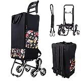Einkaufstrolley Treppensteiger, Einkaufswagen kaufstrolleyn Klappbar Rucksack Einkaufshilfe mit treppensteigerfunktion für 30 kg