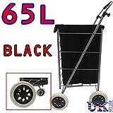 Eagle Einkaufstrolley mit 4 Rädern, faltbar, aus Segeltuch/Veloursleder, 65l Fassungsvermögen H100xW33xD33cm / 63L Capacity Plane Black Canvas