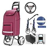Einkaufstrolley XXL mit großen Rädern in - extra großer Einkaufsroller Einkaufshilfe 70kg belastbar Einkaufswagen Gestell aus Aluminium klappbar,Lila
