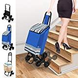 VOUNOT Einkaufstrolley Treppensteiger mit 3 Räder, Trolly Einkaufswagen Klappbar, Wasserdichter, 32L, Blau